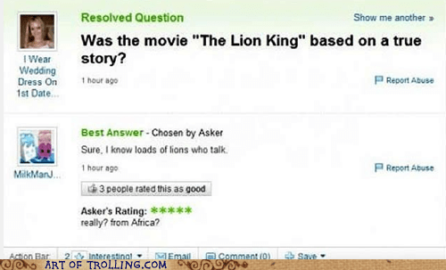 the lion king,yahoo answers,true story