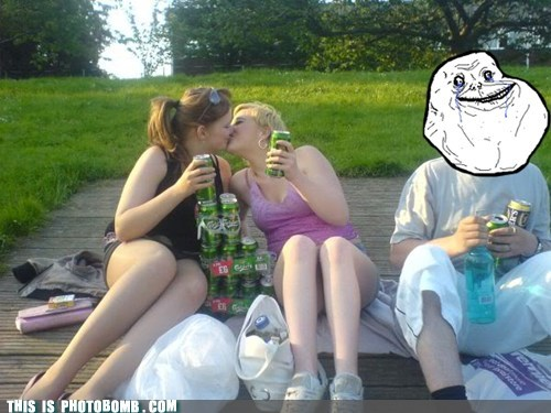 Awkward beer forever alone girls kissing picnic