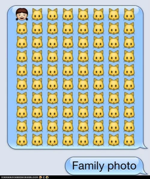 Cats,emojis,family,iPhones,phones,texting
