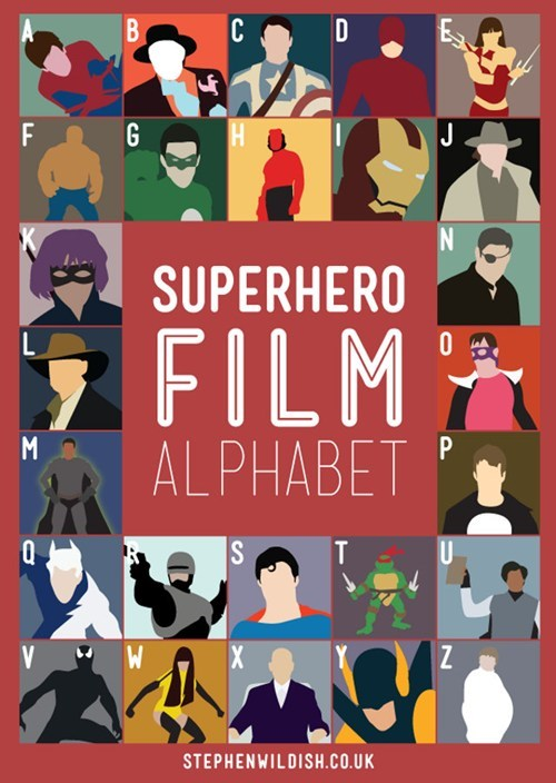 poster,superhero film alphabet,superheroes