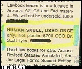 classified ads funny ad human skull not plastic - 6149152768