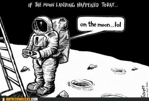 AutocoWrecks g rated moon landing texting in space tweeting it - 6149229824