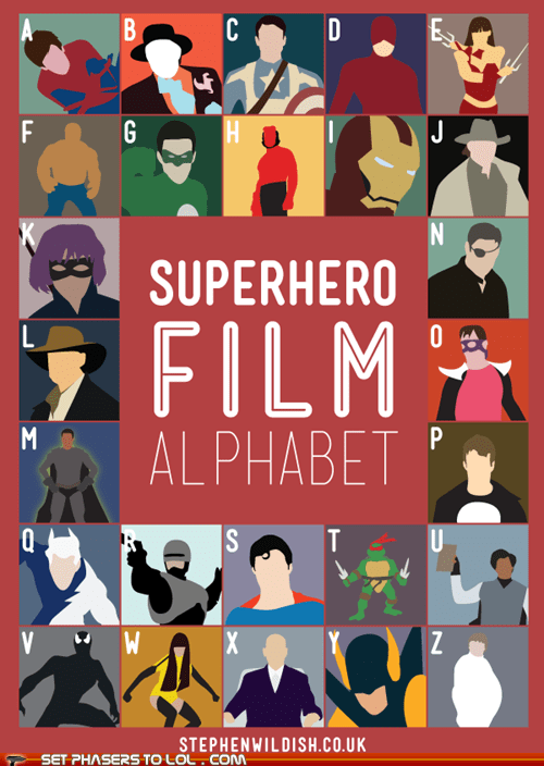 alphabet,art,challenge,films,fun,iconography,minimalism,superheroes