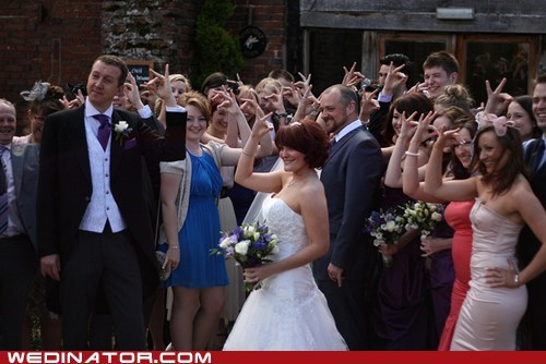 bride funny wedding photos groom hands sign sign language