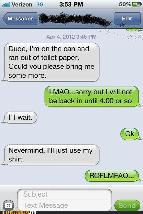 bathroom humor no more left toilet paper using your shirt - 6149791232