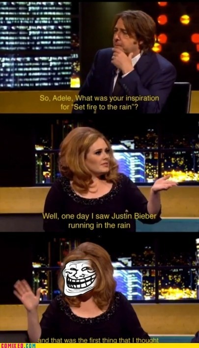 adele,justin bieber,Music,set fire to the rain,the internets