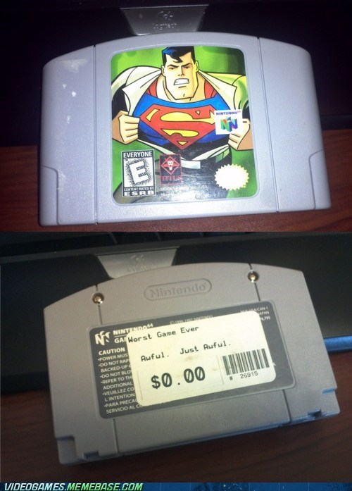 awful,free,ill-take-it,IRL,nintendo 64,superman 64,worst game ever
