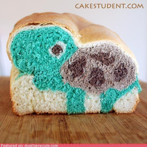 baked,bread,epicute,food coloring,turtle