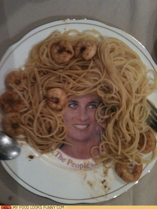 hair,pasta,plate,princess di,shrimp