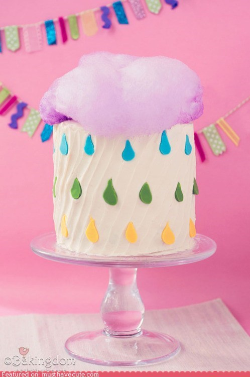 cake cloud cotton candy epicute fondant frosting rain raindrops - 6150155264