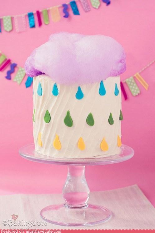 cake cloud cotton candy epicute fondant frosting rain raindrops - 6150155264