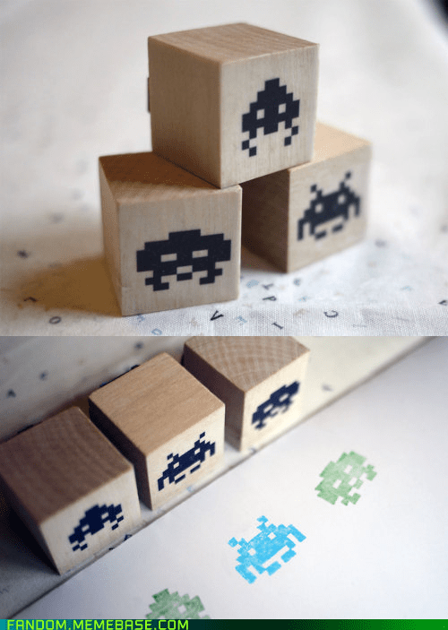 Fan Art space invaders stamp video games