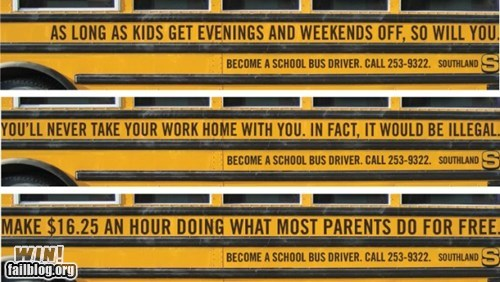 advertisement,bus,bus driver,clever,school bus,work