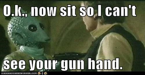 cant-see,greedo,gun,Han Solo,hand,Harrison Ford,may the fourth,order,sit,star wars,Star Wars Day