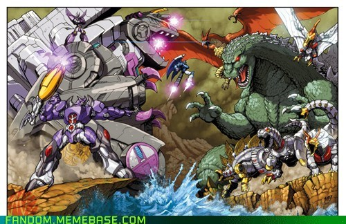 cartoons,crossover,Fan Art,godzilla,transformers