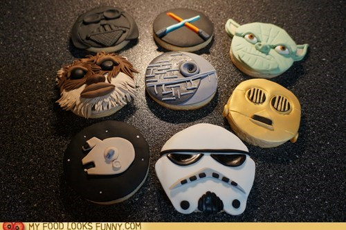 characters,cookies,Death Star,fondant,milennium falcon,star wars