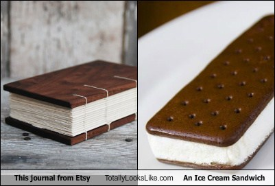 etsy,food,funny,ice cream sandwich,journal,TLL