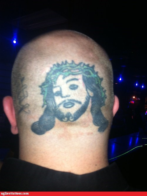 head tattoo,jesus,religious tattoos