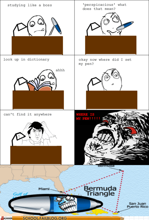 bermuda triangle,losing pen,Rage Comics,where is my pen