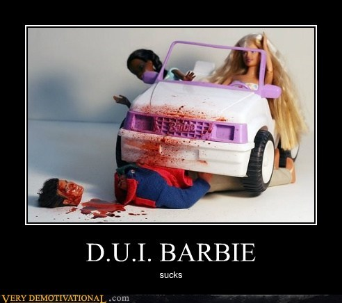 bad driver toys Barbie dui hilarious