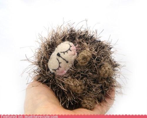 Amigurumi Crocheted face hedgehog nap Plush sleepy - 6153066496