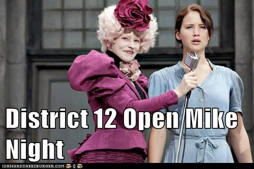 comedians,district,effie trinket,elizabeth banks,hunger games,jennifer lawrence,katniss everdeen,nervous,open mic,speechless