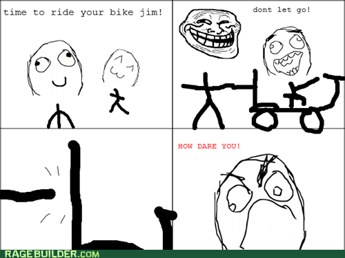 bicycles kids liar never riding again Rage Comics troll dad - 6153164800