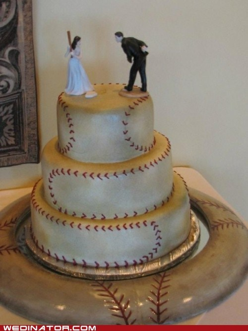 baseball,cake,funny wedding photos,wedding cake