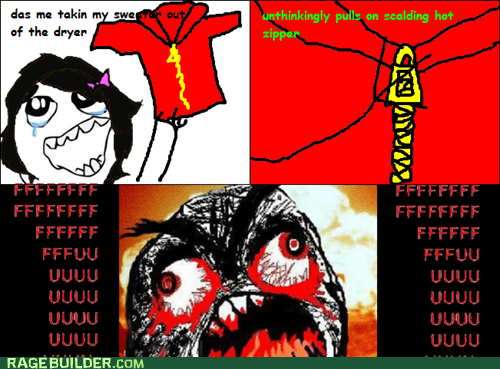 burnt dryer FUUUUU metal Rage Comics zipper - 6153275648