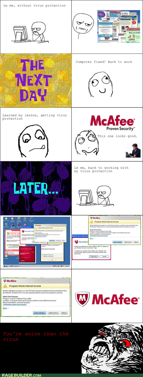 annoying computers mcaffe Rage Comics viruses