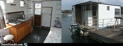 built in,ghetto,houseboat,refrigerator