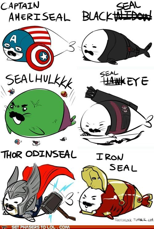 avengers,best of the week,captain america,cute,drawing,Fan Art,hulk,iron man,movies,seals,superheroes,The Avengers