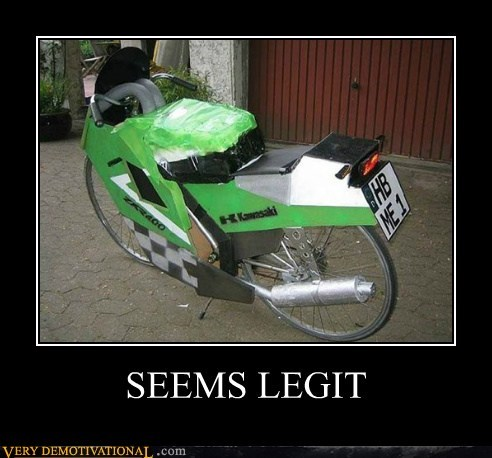 bicycle hilarious motorcycle seems legit