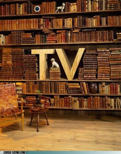bookcase books leather shelves TV
