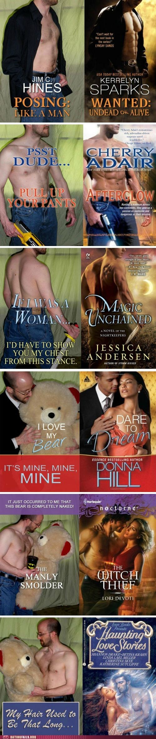 novel covers,parodies,posing like a man,romance novels