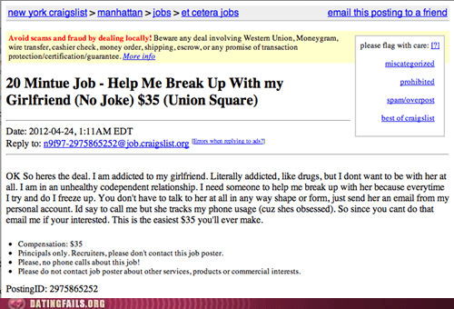 break up for hire breaking up craigslist gainfully employed - 6153953024