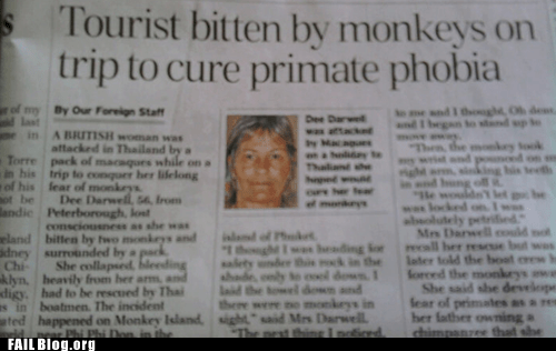 monkey phobia primate Probably bad News tourist