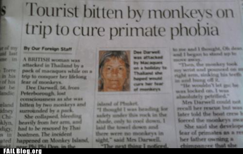 monkey phobia primate Probably bad News tourist - 6154302976