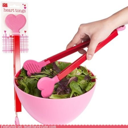 food,hearts,pink,salad,tongs,utensil