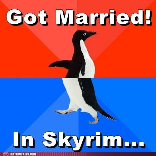 got married,in skyrim,socially awkward penguin,solitude,Videogames