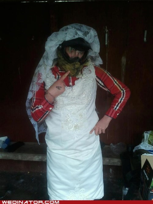 cross dressing funny wedding photos groom men wedding dress - 6156337920