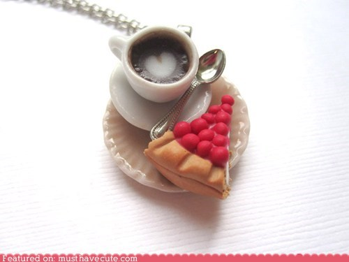 cheesecake,coffee,Jewelry,miniature,necklace,pendant,scented