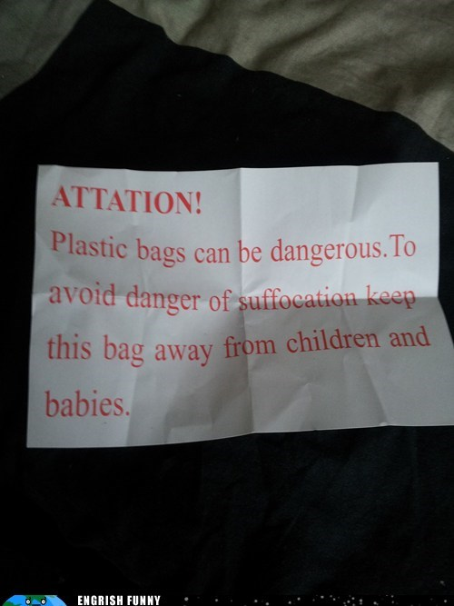 attation attention caution danger keep away from children plastic bags suffocation warning