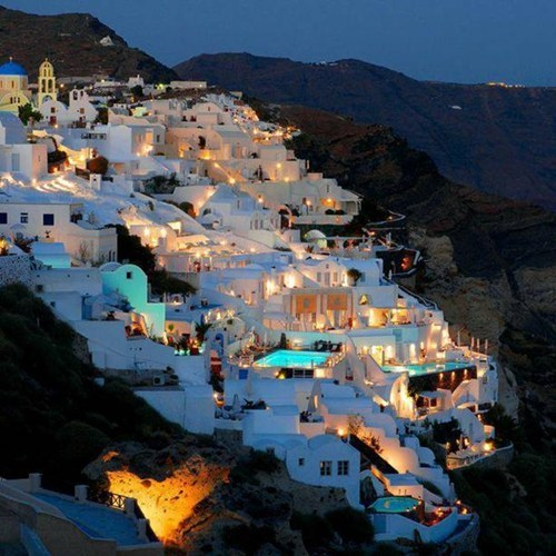 architecture greece hillside night - 6156930048