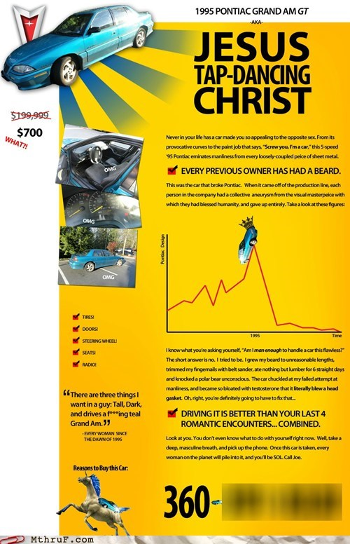 car ad infographic jesus tap dancing christ pontiac