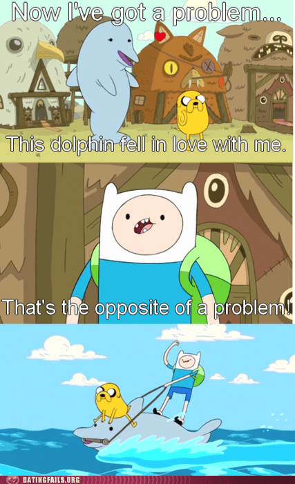 adventure time dolphins love stories opposite of a problem - 6157557504