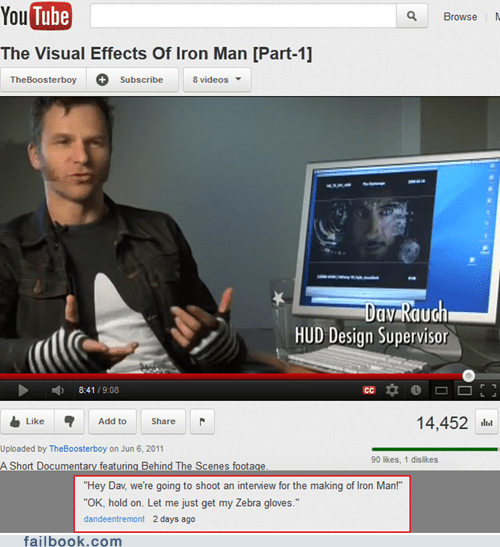 comment,gloves,iron man,youtube,youtube comment