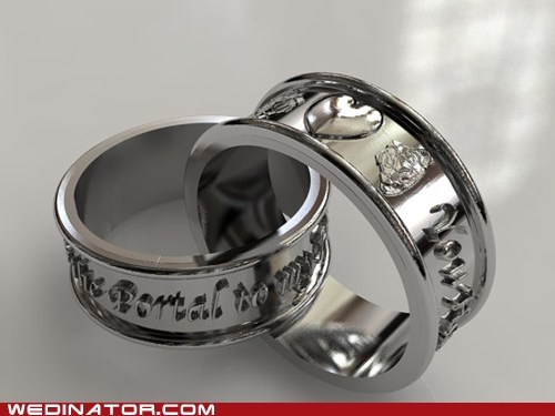engagement rings,funny wedding photos,geek,Portal,video games,wedding rings