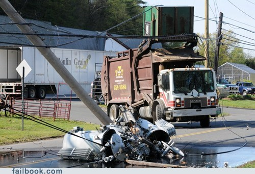 dumpster garbage truck mack truck power lines - 6157725440