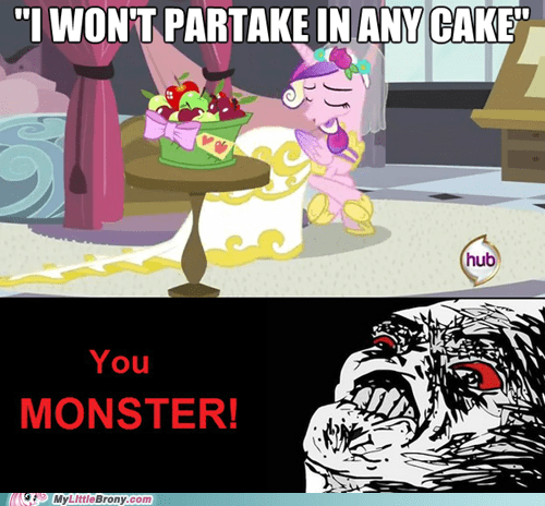cadance,cake,meme,pure evil,you monster
